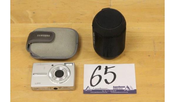 digital fotocamera SAMSUNG, L210, zonder kabels en batterij, met opberghoesje, werking niet gekend plus speaker SOUNDLOGIC, zonder kabels, werking niet gekend