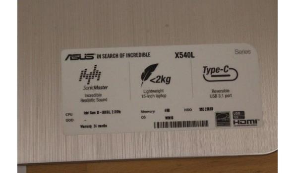 laptop ASUS, X540L, Intel Core i3, zonder lader, paswoord niet gekend, werking niet gekend