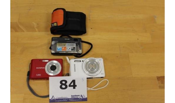 3 div digitale fotocameras wo SAMSUNG, OLYMPUS, werking niet gekend, zonder kavels en wo beschadigd