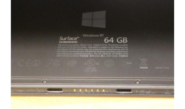 tablet pc MICROSOFT Surface, 64Gb, zonder lader, paswoord niet gekend, werking niet gekend,