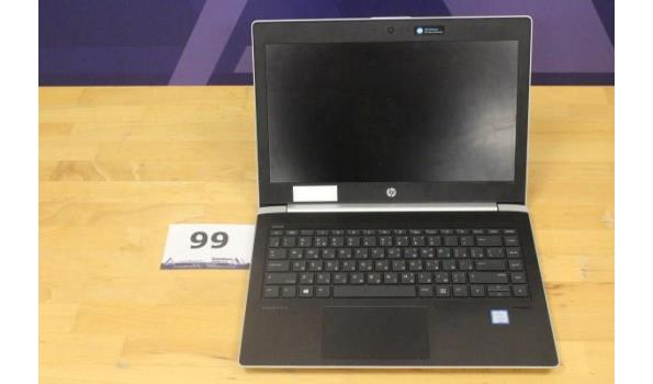 laptop HP, Probook, Intel Core i5, zonder lader, paswoord niet gekend, werking niet gekend
