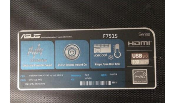 laptop ASUS F751S, Intel Dual-Core, zonder lader, paswoord niet gekend, werking niet gekend, beschadigd