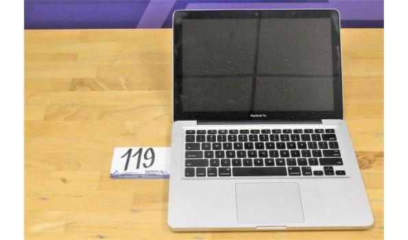 laptop APPLE, MacBook Pro  A1278, zonder lader, paswoord niet gekend, werking niet gekend, beschadigd