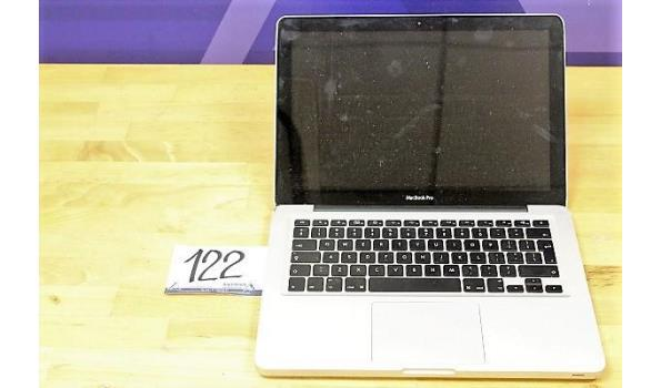 laptop APPLE, MacBook Pro, zonder lader, paswoord niet gekend, werking niet gekend, beschadigd