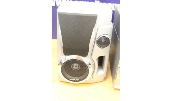 hifi installatie PHILIPS FW910R/22 met 2 geluidsboxen SHARP, zonder kabels, werking niet gekend