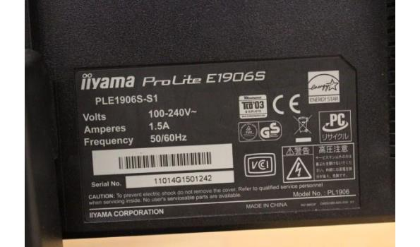 3 div tft-schermen wo IIYAMA Prolite E1906S, zonder kabels, werking niet gekend