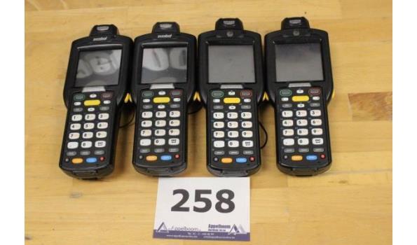 4 handscanners SYMBOL MC3190, zonder kabels, werking niet gekend