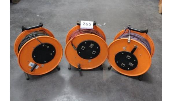 3 audioverlengkabels op haspel