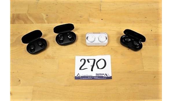 4 diverse wireless earphones wo Mi, zonder kabels, werking niet gekend