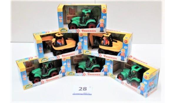 6 div speelgoedwagens, wo tractor, graafmachine