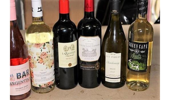 10 flessen diverse wijnen