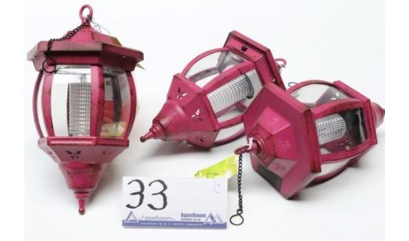 set van 3 lantaarns, diam plm 15cm en h plm 26cm
