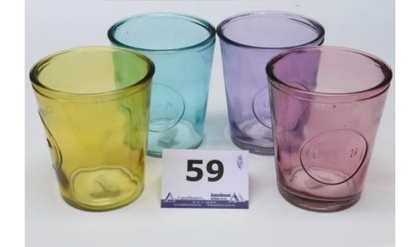 4 glazen plantenpotten in div kleuren, diam pl 14cm, h plm 16,5cm