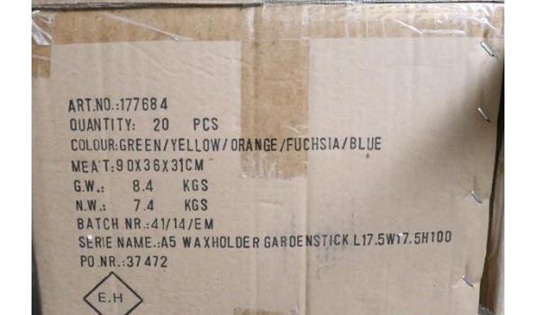 doos inh 4 sets van 5 theelichthouder tuinsticks, afm plm 17,5x17,5x100cm