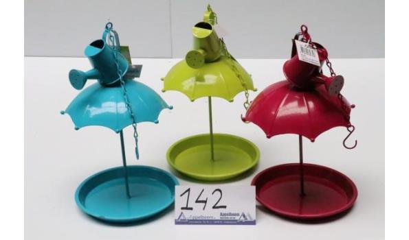 """3 div vogelfeeders, in """" kleuren, afm plm 20x20x51cm"""