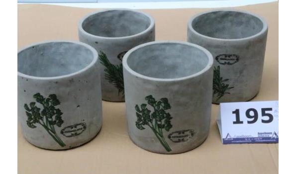 4 decoratieve plantenpotten, grijs, diam plm 15cm, h14cm