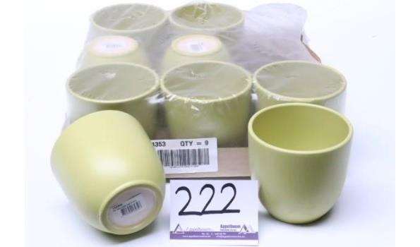 9 plantenpotten, groen mat, diam plm 12cm, h plm 11cm