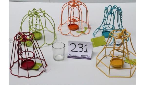 5 div lustertheelichthouders voor de tuin, in div kleuren