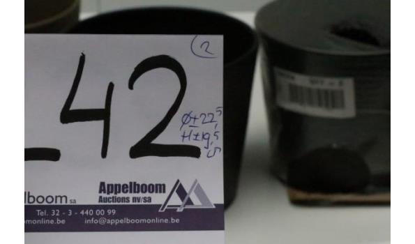 2 plantenpotten, zwart, diam plm 22,5cm, h plm 19,5cm