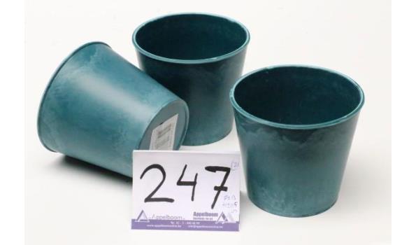 doos inh 24 plantenpotjes, groen, diam plm 13cm, h plm 11,5cm