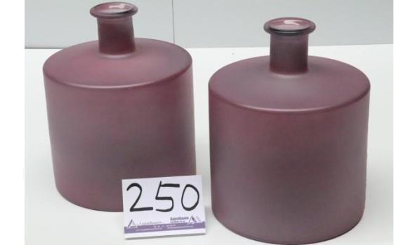 2 decoratieve glazen vazen, old pink mat, afm plm 41x21,5x27,5cm