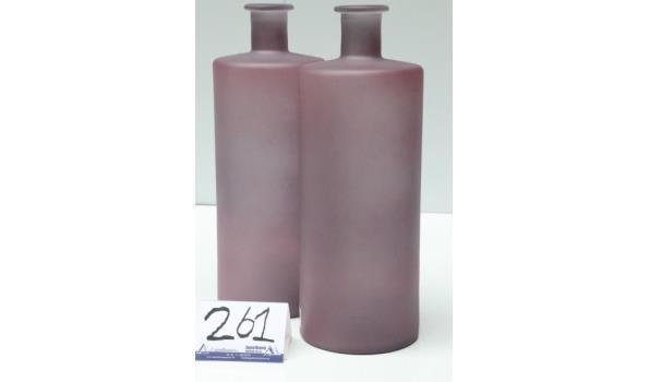 2 decoratieve glazen vazen, old pink mat, afm plm diam plm 15cm, h plm 40cm