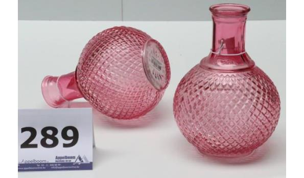 12 decoratieve glazen vazen, afm plm 43x29x40,5cm