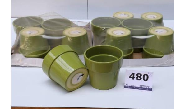 24 plantenpotten, groen, diam plm 15cm, h plm 13cm