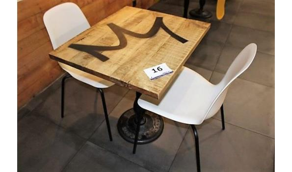 2 vierkante tafels, afm plm 70x60cm compl met 4 pvc stapelstoelen