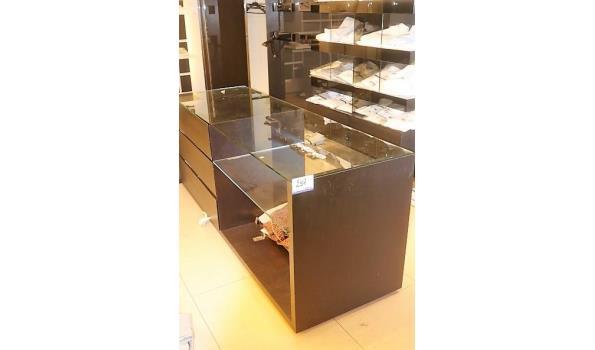 winkelmeubel vv glazen blad en laden 220x70